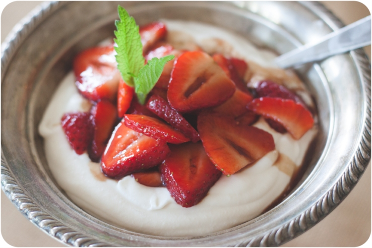 balsamic strawberries over whipped coconut cream
